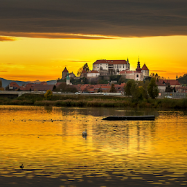 Yellow by Aleksandra Jereb - City,  Street & Park  Skylines ( water, sunset, slovenia, castle, yellow, cityscape, ptuj, river, city )