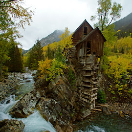 Crystal Mill by Justin Giffin - Buildings & Architecture Decaying & Abandoned ( water, mountains, fall colors, autumn, colorado, buildings, abandoned,  )