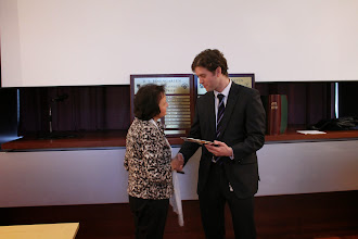 Photo: Mrs Rosengarten presenting the prize to Chris Brooks