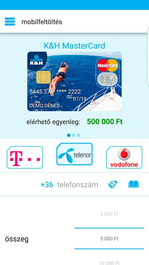 K&H mobilbank- screenshot