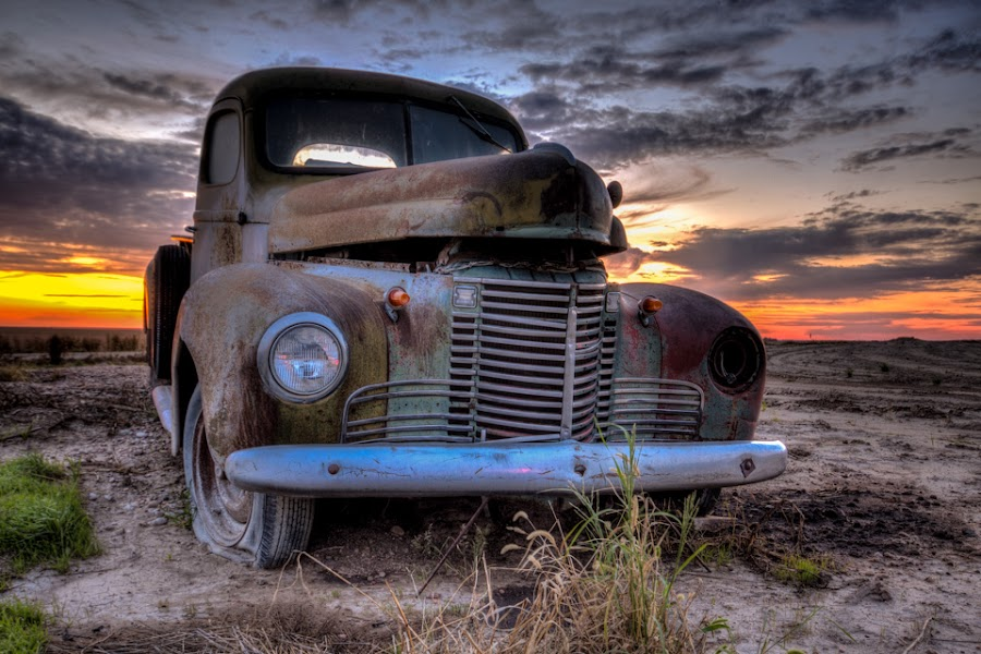 Resting Place by Jim Talbert - Transportation Automobiles ( field, clouds, sky, hdr, truck, sunset, international, landscapes, landscape, antique, kansas, abandoned )