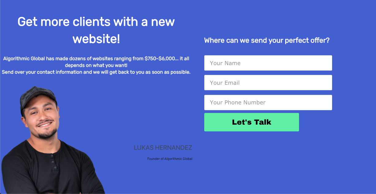 Algorithmic Global's designs landing pages for social media leads