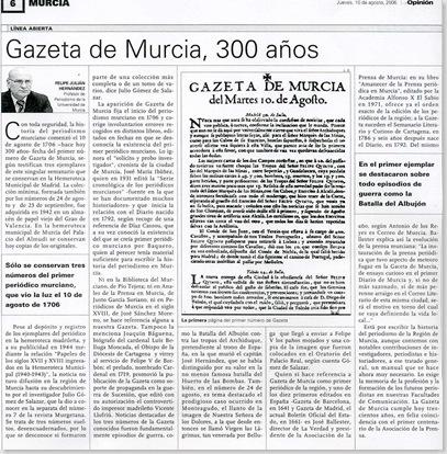 Gazeta de Murcia,La Opinión 10 de agosto de 2006
