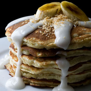 Banana Coconut Pancakes with Homemade Coconut Syrup and Bruleed Bananas