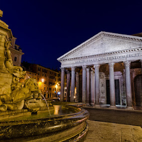 Pantheon Square (Rome-Italy) by Eric Niko - Buildings & Architecture Statues & Monuments ( rotonda, 12-24, lights, monuments, roma, italia, rome, d7000, night, piazza, square, italy, pantheon, , city, Urban, City, Lifestyle )