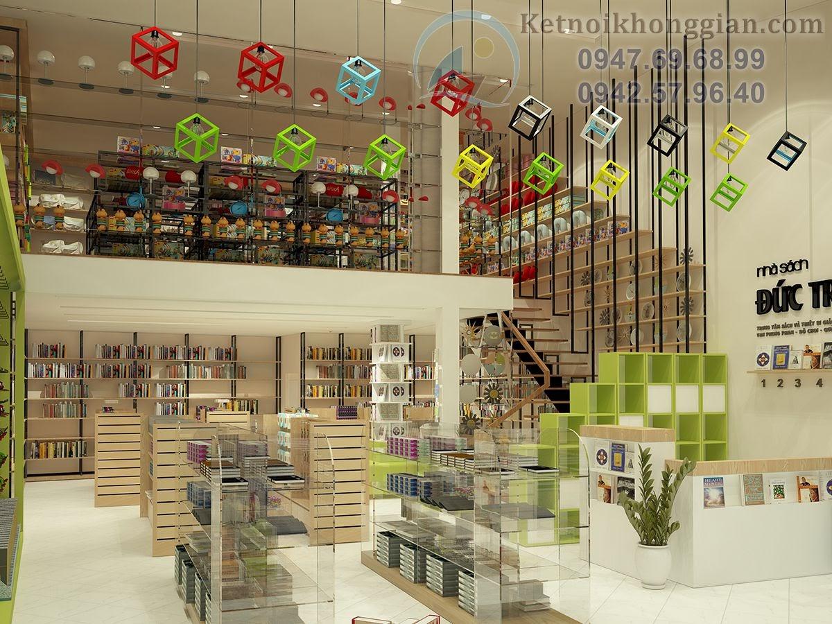 thiết kế nhà sách sử dụng tông trắng