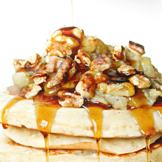 Pancakes with Banana Honey Compote and Toasted Walnuts