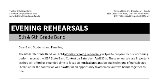 Evening Rehearsal: 5th & 6th Band 2016 - Google Docs