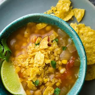 Slow Cooker Chickpea Tortilla Soup (Freezer to Crock Pot).