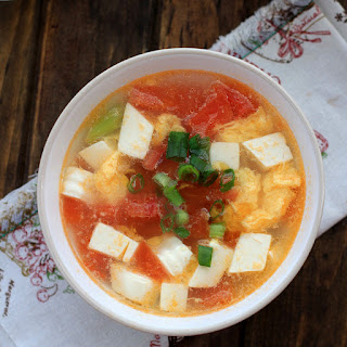 Tofu Egg Soup with Tomatoes.