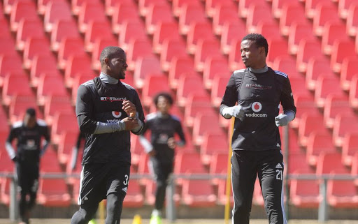 File picture of Ntsikelelo Nyauza with Thamsanqa Sangweni of Orlando Pirates during the Orlando Pirates Training on the 17 August 2017 at Rand Stadium.
