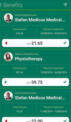 Sanitas customer portal app - screenshot