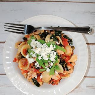 Orecchiette Pasta with Chicken, Kale, Basil and Feta Cheese.