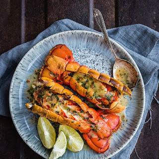 Grilled Lobster Tails With Coriander And Chilli Butter Sauce.