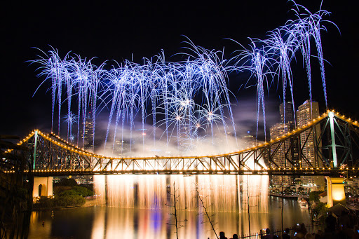 Story-Bridge-Brisbane-fireworks -  The Story Bridge during the Riverfire fireworks celebration in Brisbane.