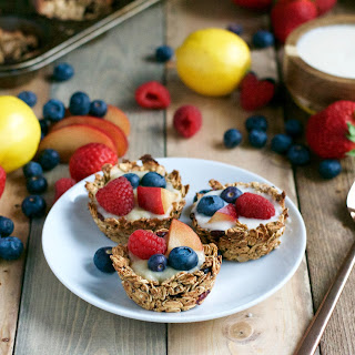 Vegan Granola Cups with Fruit and Lemon Filling