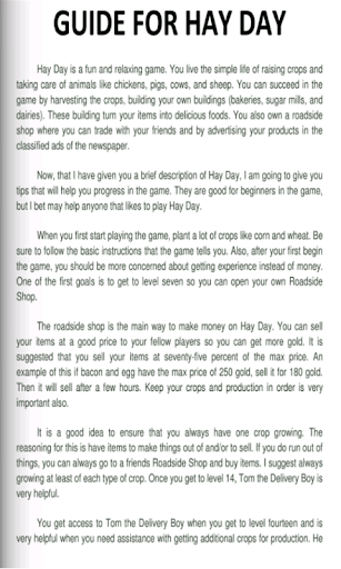 Guide For Hay Day Tips