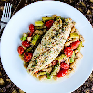Tilapia with Vegetables in White Wine Dill Sauce