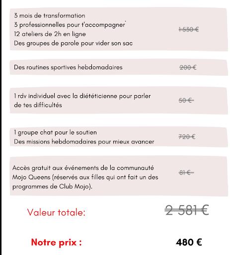 le prix et la valeur du programme de club mojo