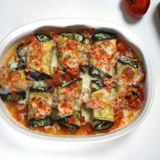 Eggplant Rollatini with Spinach, Raisins and Currants (Eggplant Lasagna Rolls).