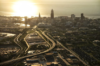 Photo: I-77 snakes its way into downtown Cleveland at center; aerial photograph of Cleveland taken on Wed. June 1, 2011.(Thomas Ondrey/The Plain Dealer)