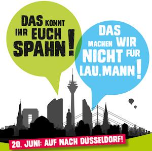 ver.di-Plakat: «20. Juni auf nach Düsseldorf!».