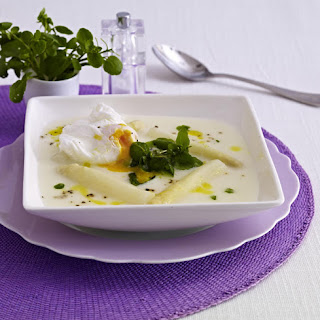 Asparagus and Watercress Soup with a Poached Egg