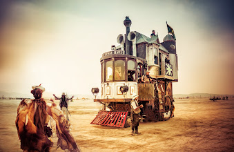 Photo: The Rolling Steampunk Machine  What? A three story Victorian House that is rolling around the desert? Yes ! This is probably one of my favorite art cars on the playa. The other amazing thing about it is that the entire crew is in costume and character the entire time... amazing!  More about the car here on their page: http://www.obtainiumworks.net/neverwas-haul/