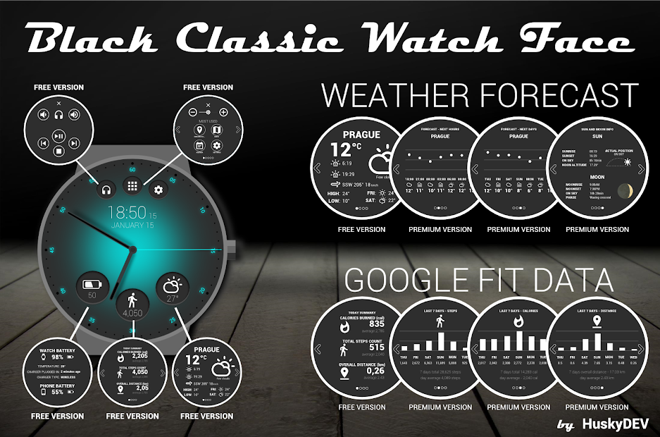 Black Classic Watch Face Android App Screenshot