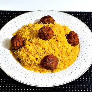 Indian Style Saffron Rice With Meatballs.