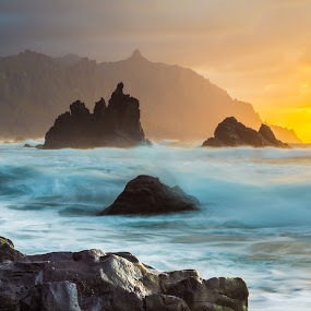 Roque Benijo, Tenerife by Frederik Schulz - Landscapes Waterscapes ( sunset, beach, rocks, canaries, spain )
