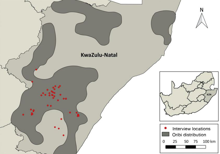 The distribution of oribi in KwaZulu-Natal, with red dots indicating the location of the 50 farmers who were interviewed for the study. Image: Endangered Species Research