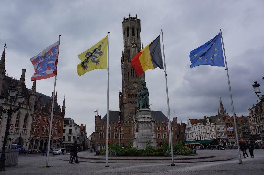 Historical Market Square in Brugge, Belgium (2014)