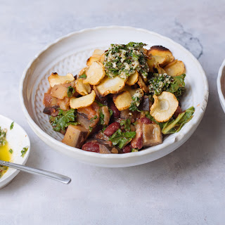 Parsnip, Kale & Kidney Bean Hotpot With Parsley & Walnut Pesto