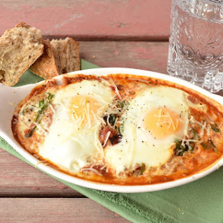 Baked Eggs with Tomato Sauce, Spinach & Quinoa