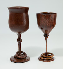 "Photo: TERRY LAMB – 3"" x 7"" & 2.5"" x 6"" Captured Ring Goblets [Walnut]"