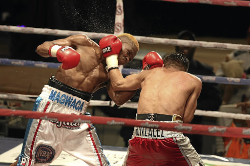 Mzuvukile Magwaca in action against Jose Gonzalez during the WBA Bantamweight International title fight at the Orient Theatre.