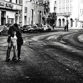 Love is everywhere  by Alex Cruceru - People Street & Candids ( love, urban, monochrome, street, empty, couple, curves, city )