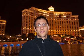 Photo: Daniele in front of the Bellagio Hotel and Casino, Las Vegas