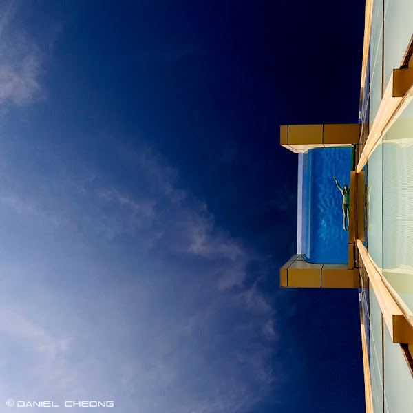 Photo: Swimming On The Edge Glass bottom swimming pool of the Intercontinental Hotel in Dubai Published in Condé Nast Traveler magazine