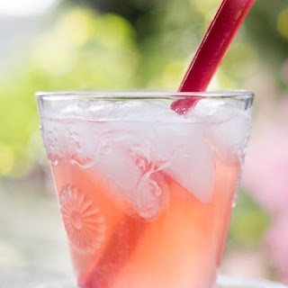 Rhubarb Grapefruit Honey Whiskey Spritzer