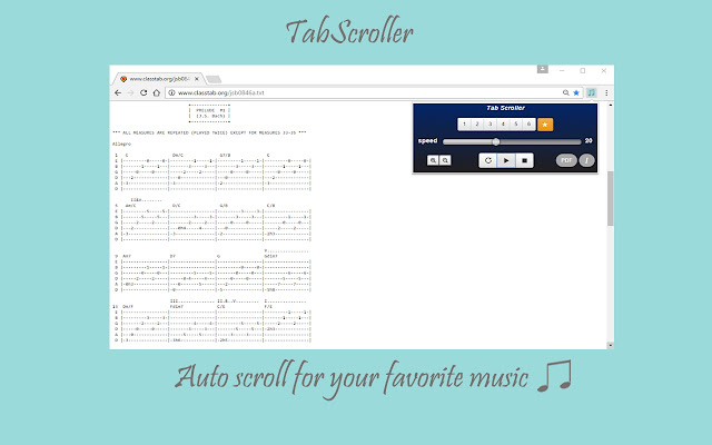 Tab Scroller - Guitar Tab Auto Scroll - Chrome Web Store