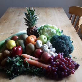 Market Delivery by Gay Reilly - Novices Only Objects & Still Life ( pineapple, fruit, carrots, pine table, vegetables, grapes )