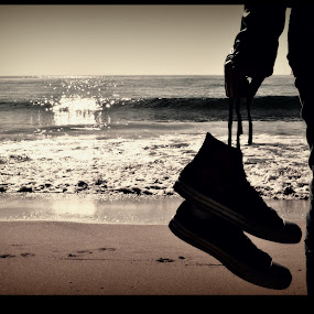 The shoes and the sea by KOUSTUV LAHIRI - Landscapes Waterscapes
