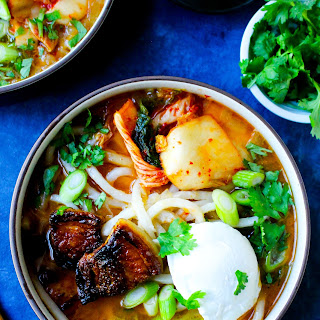 Sweet & Spicy Korean Pork Belly Udon Soup.
