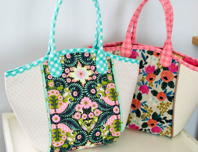 sewing project fabric tote bags