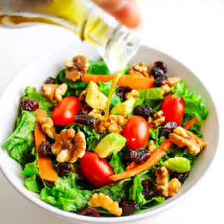 Winter Kale Walnut and Cranberry Salad With Balsamic Vinaigrette.