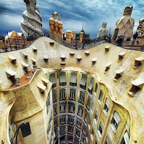 Casa Mila - Vertigo by Thilo Bayer - Buildings & Architecture Public & Historical ( hdr, neckbreaker, barcelona )