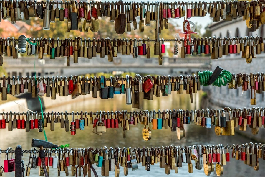 by Mario Horvat - Artistic Objects Still Life ( love, bridga, locks, ljubljana, river )