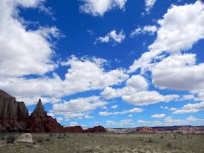 Photo: Leaving Chimney Rock, the most perfect puffy clouds I've ever seen